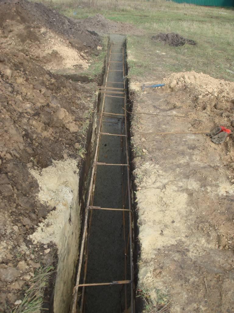 фото - укладка (заливка) бетонной смеси для изготовления фундамента