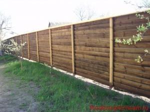 фото - сплошной забор из дерева типа жалюзи, изготовление, разметка, окраска