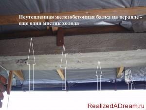 фото - одним из мостиков холода является бетонная балка, которая является и армопоясом